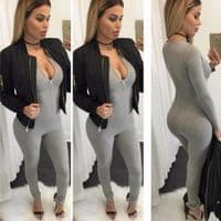 Ladies V-neck Zip Up Bodycon Long Sleeve Jumpsuit Party Club Bodysuits